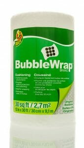 A roll of bubble wrap for packing glassware for your move