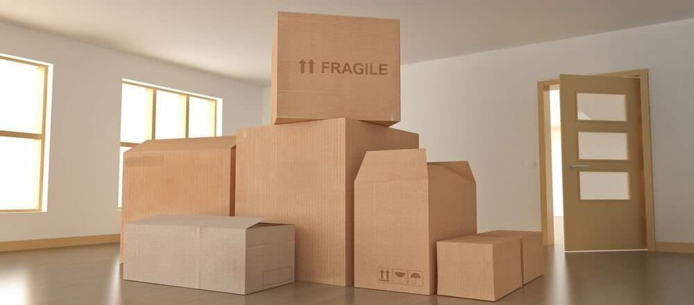 boxes carefully stacked inside home