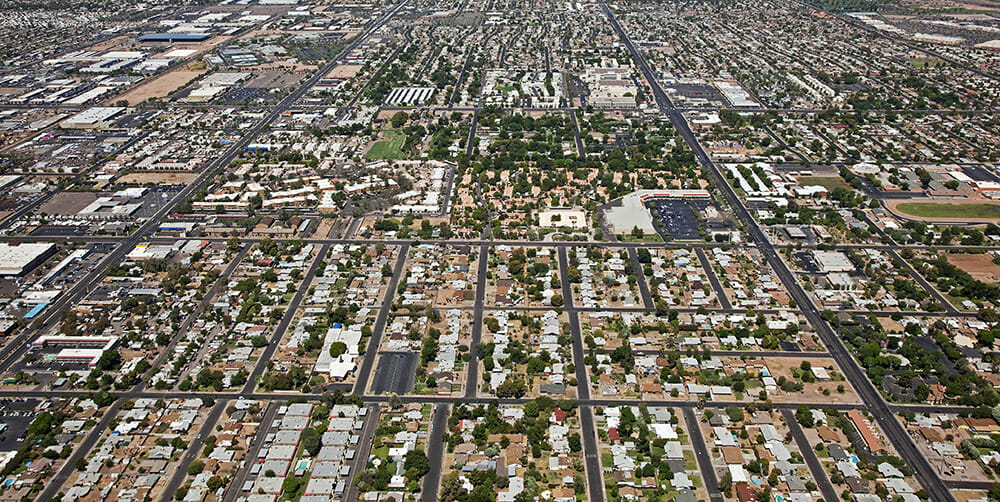 Aerial Photo of the phoenix road layout in a grid
