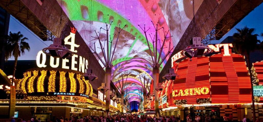 Freemont street in downtown las vegas with the light show overhead