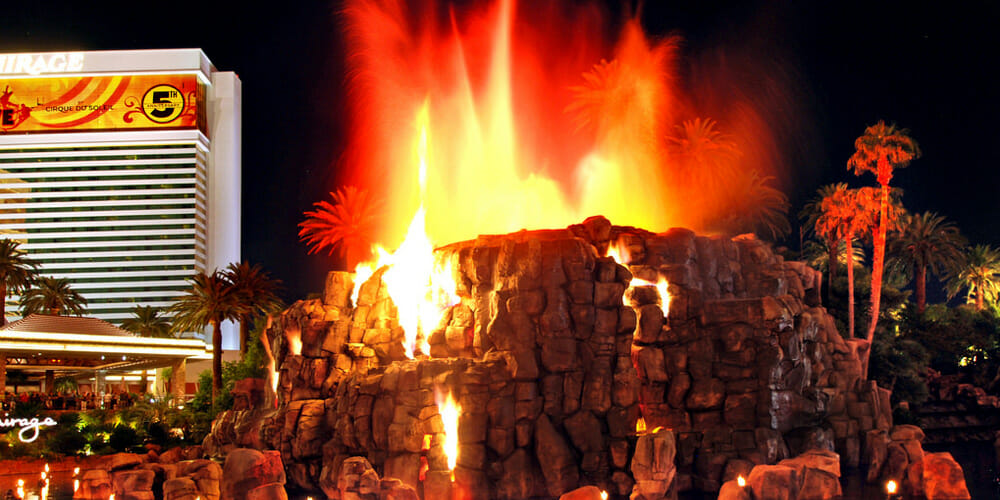 The Erupting Volcano at the Mirage Hotel on the Las Vegas Strip