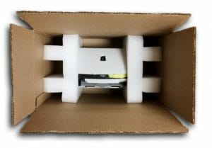 packing a printer in a moving box